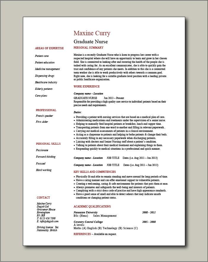 Graduate Nurse CV template - 1 page