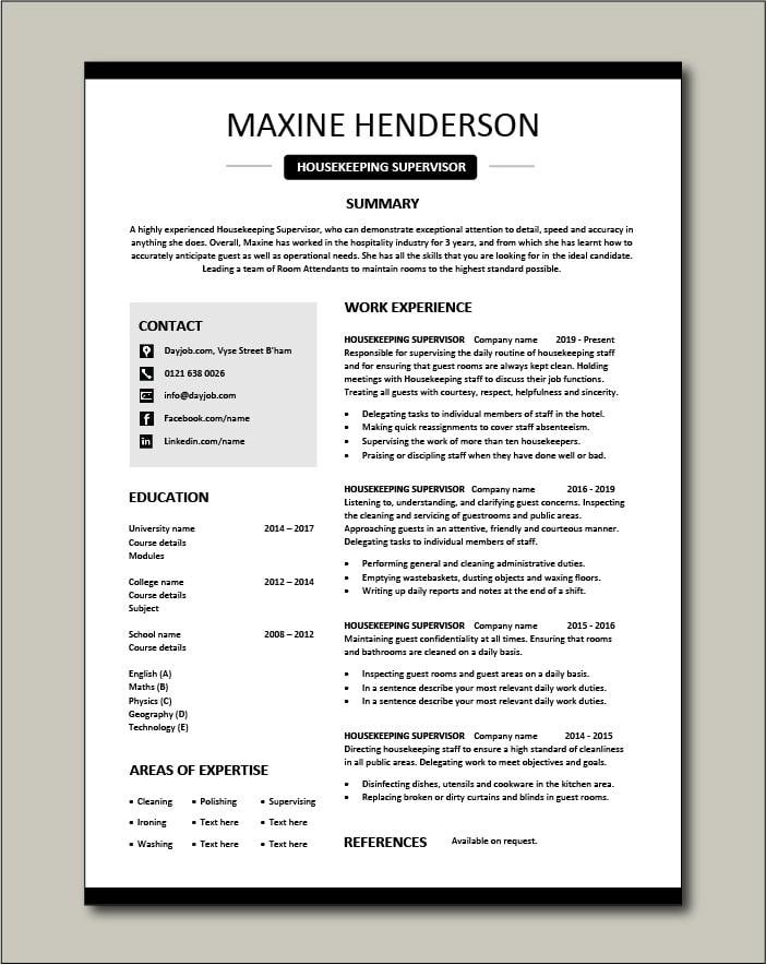 Housekeeping Supervisor resume template 4