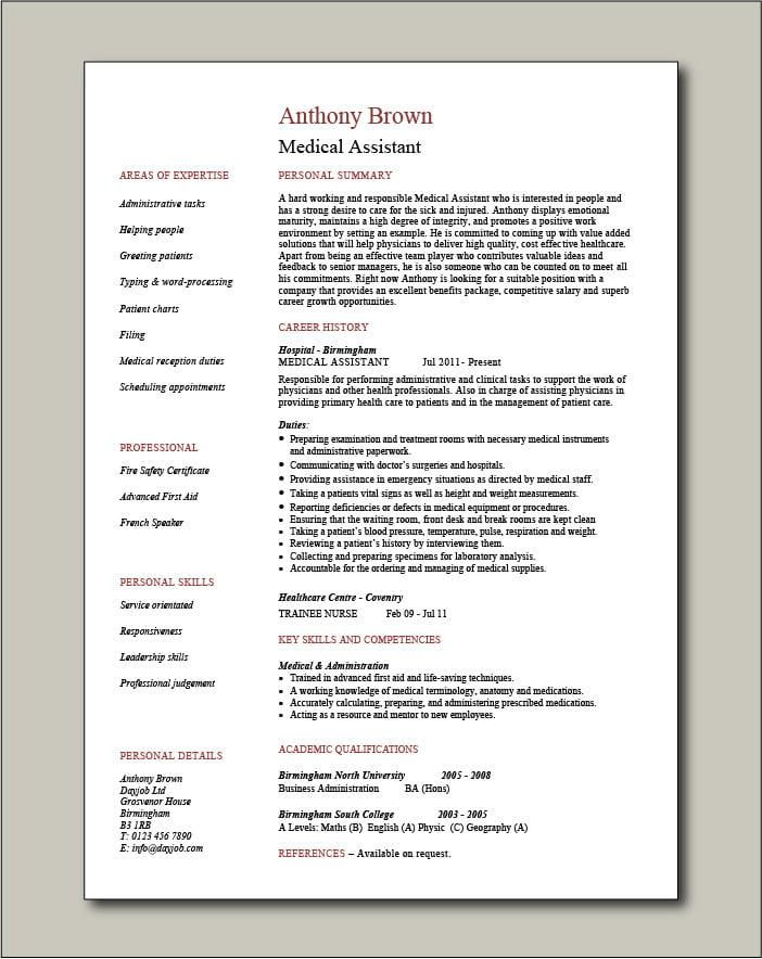 Medical Assistant CV - 1 page