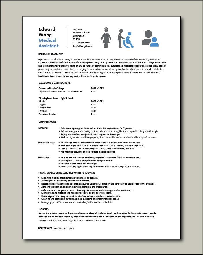 Medical Assistant entry level CV template