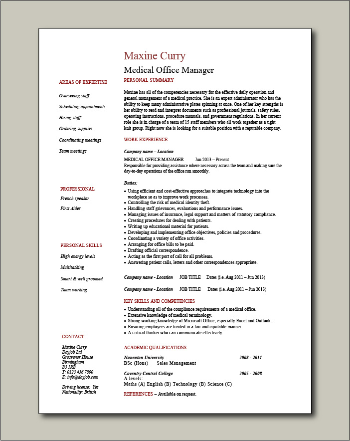Medical Office Manager CV - 1 page