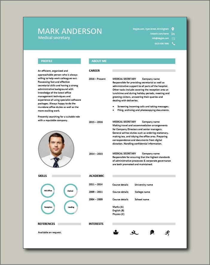 Medical Secretary CV template - 1 page