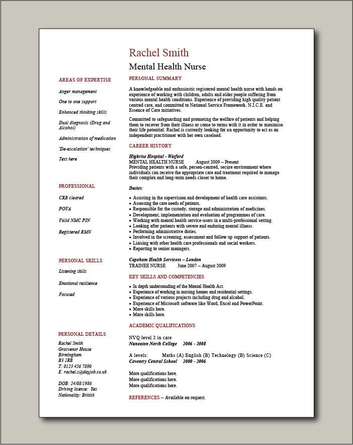 Mental Health Nurse CV - 1 page
