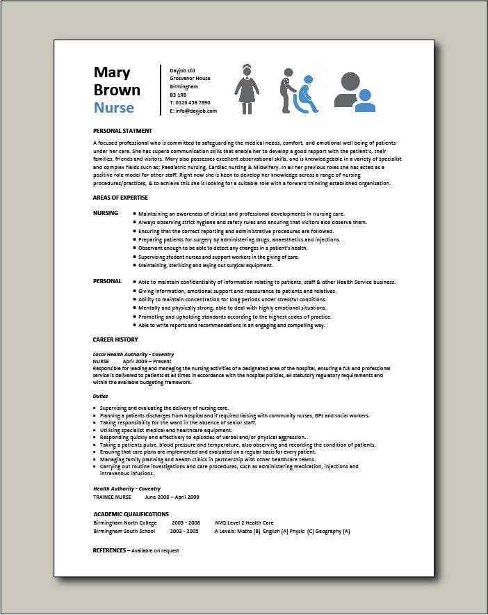 Nurse CV template 6 - 1 page