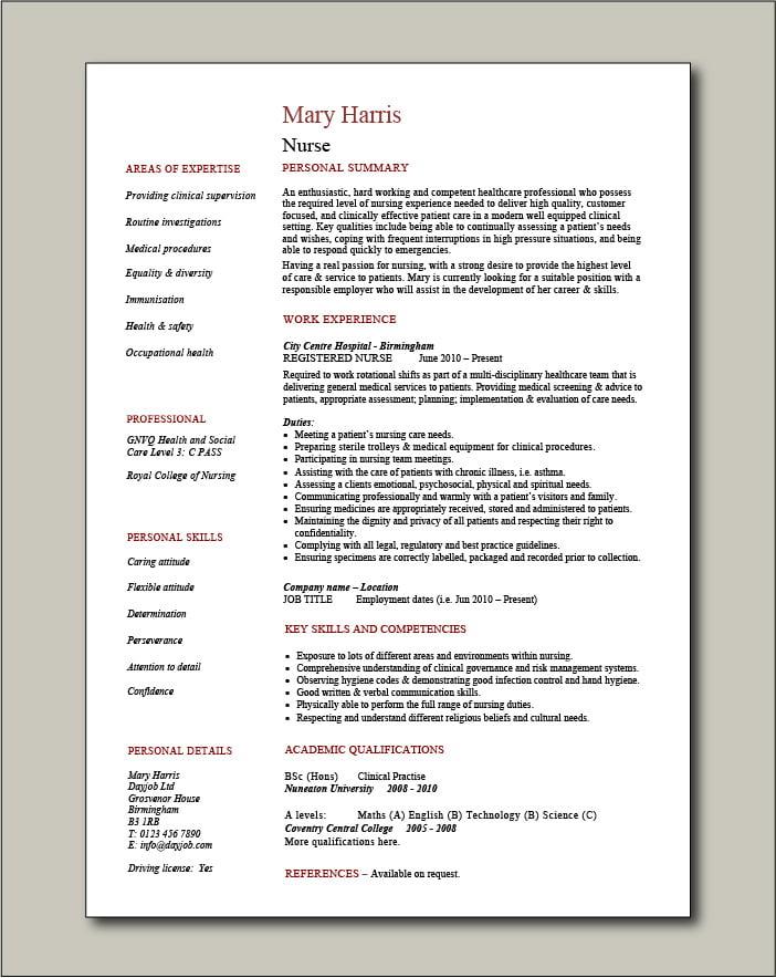 Nurse CV template 7 - 1 page