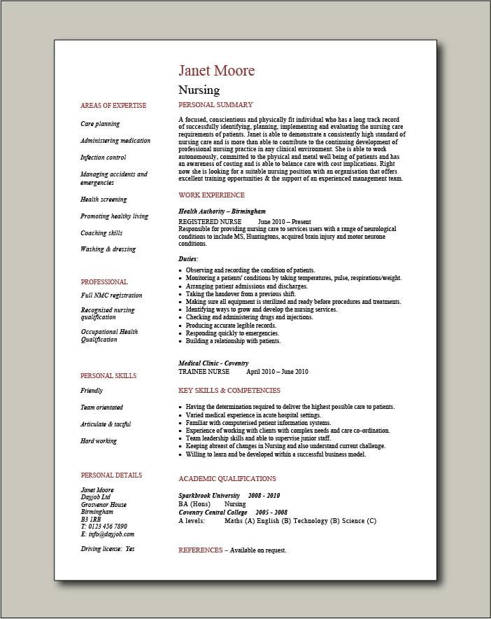 Nurse CV template 8 - 1 page