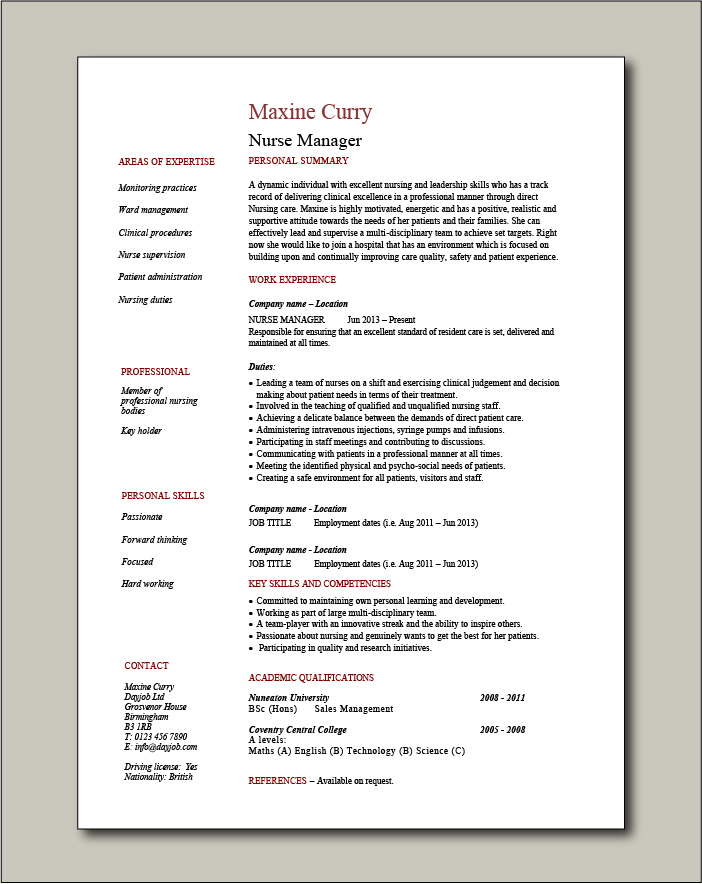 Nurse Manager CV template - 1 page