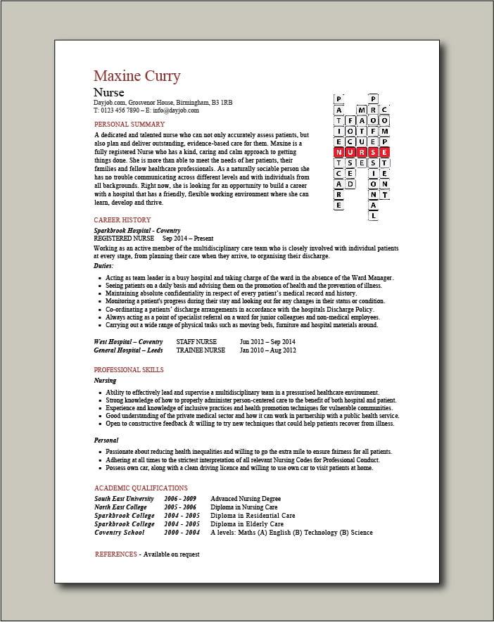 Nurse CV crossword template 1 - 1 page