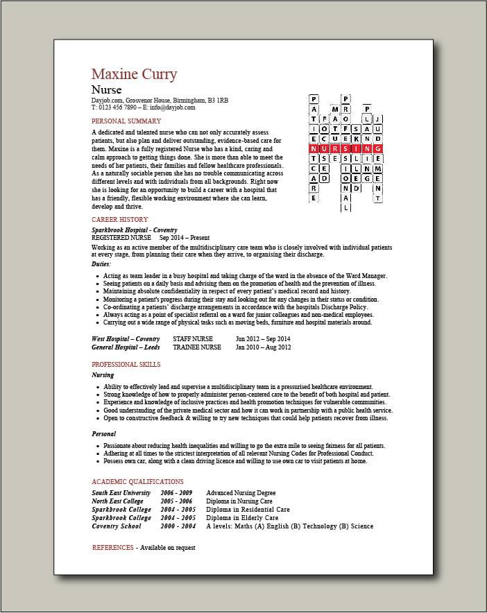 Nurse crossword CV template 2 - 1 page