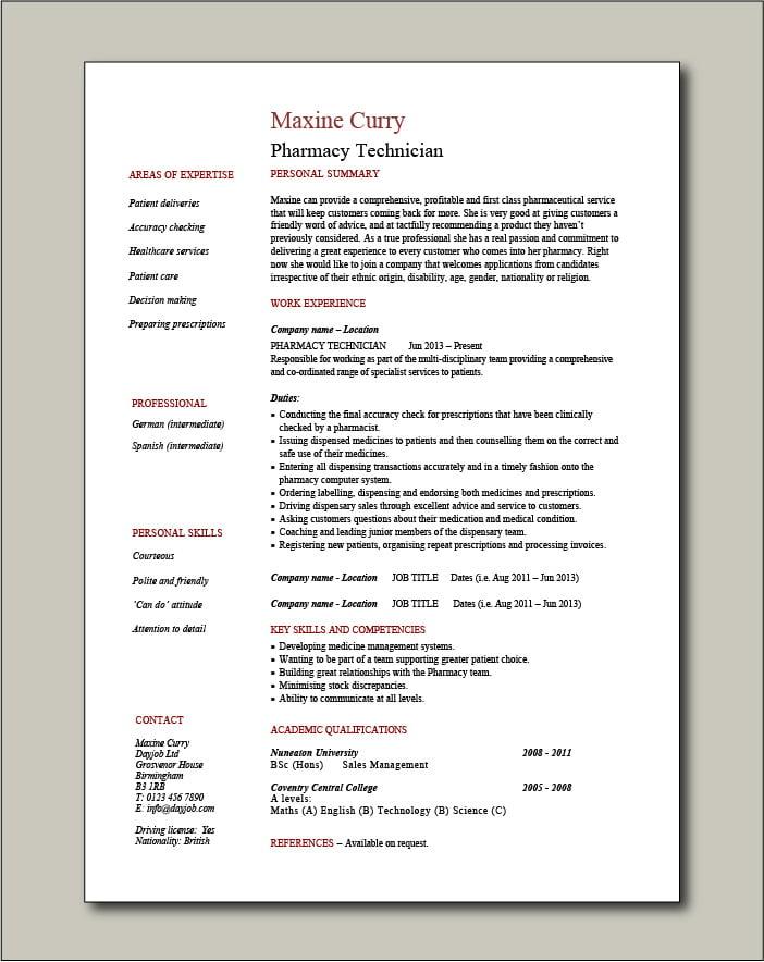 Pharmacy Technician CV template - 1 page