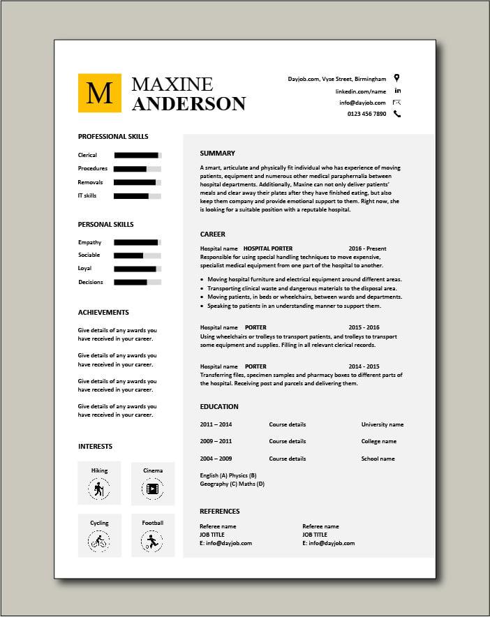 Porter CV template - 1 Page