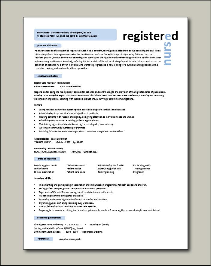 Registered Nurse CV template - 1 page