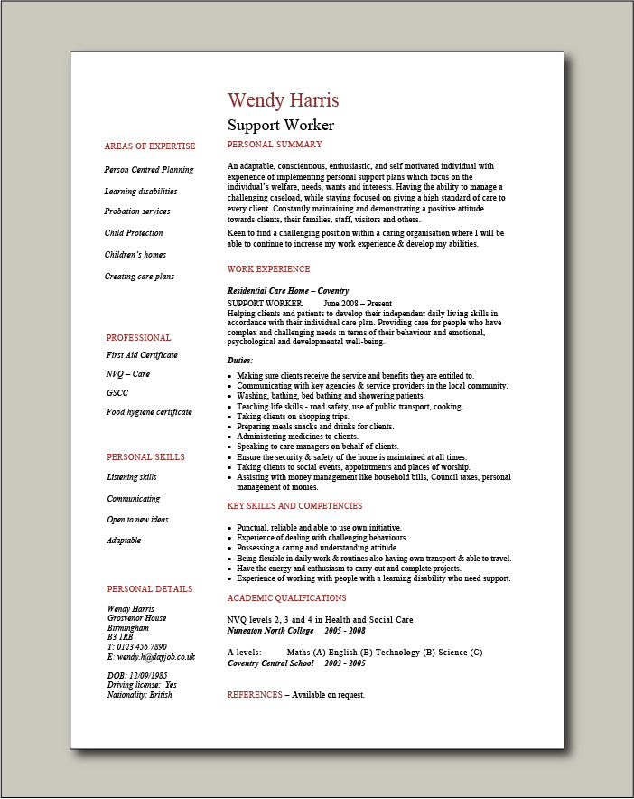 Support Worker CV - 1 page