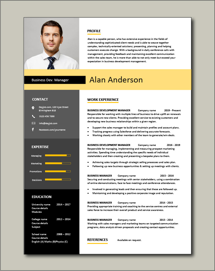 Business Development Manager CV template 1 page