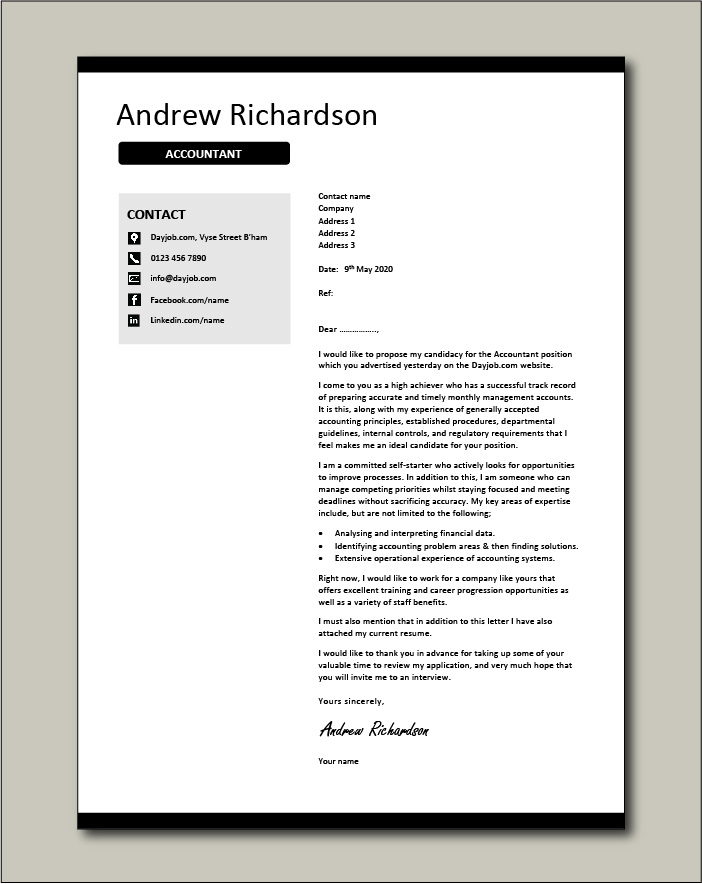 Accountant Cover Letter Example Job Application Cv Project