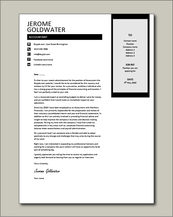 Free Accountant cover letter example 3