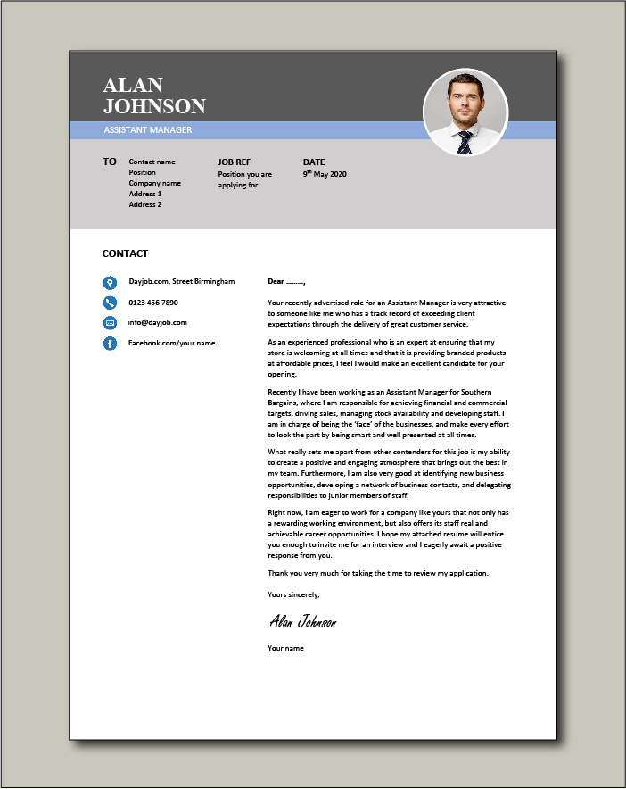 Free Assistant Manager cover letter example 2
