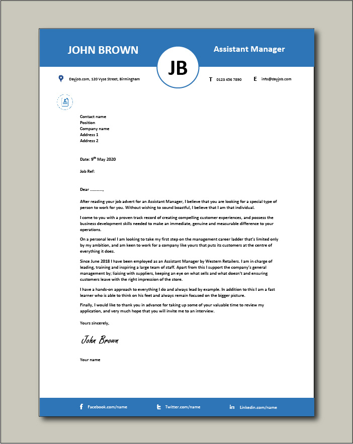 Free Assistant Manager cover letter example 4