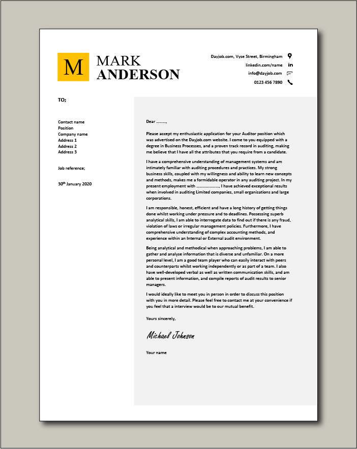 Internal Cover Letter Sample from www.dayjob.com