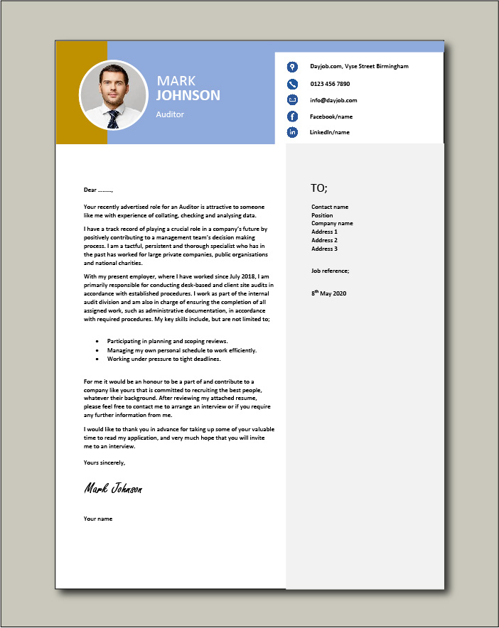 Free Auditor Cover Letter example 2