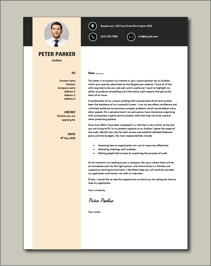 Free Auditor Cover Letter example 4