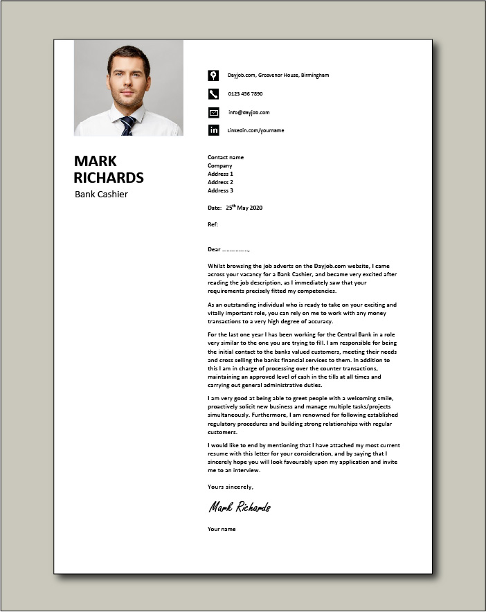 Free Bank Cashier cover letter example 3