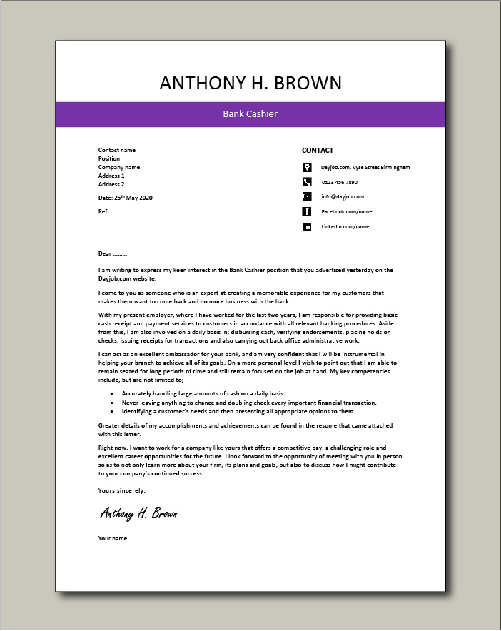 Free Bank Cashier cover letter example 4