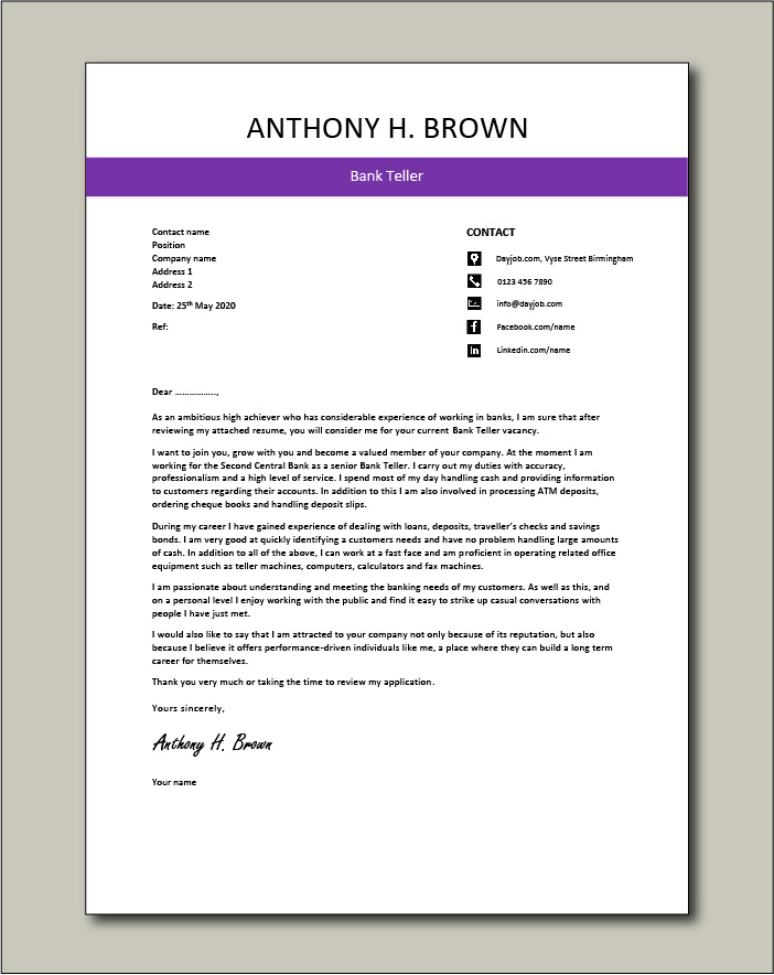 Free Bank Teller cover letter example 4