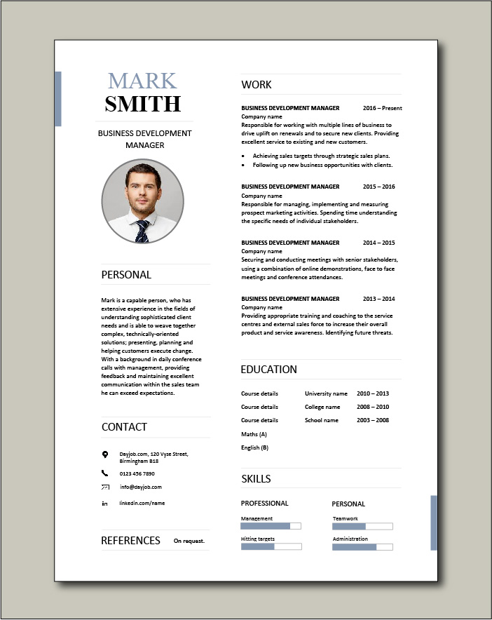 Business Development Manager Cv Template Managers Resume Marketing Job Application Revenue