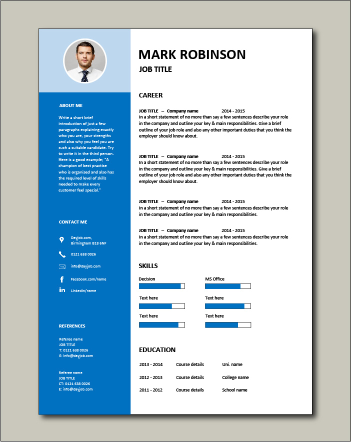 Free CV template 15 - blue
