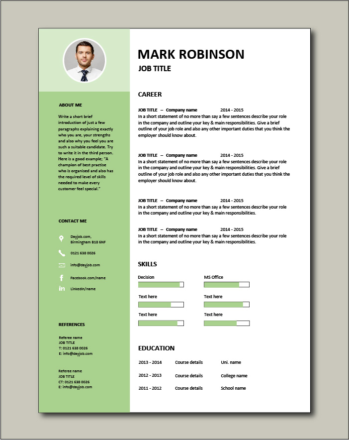 Free CV template 15 - green