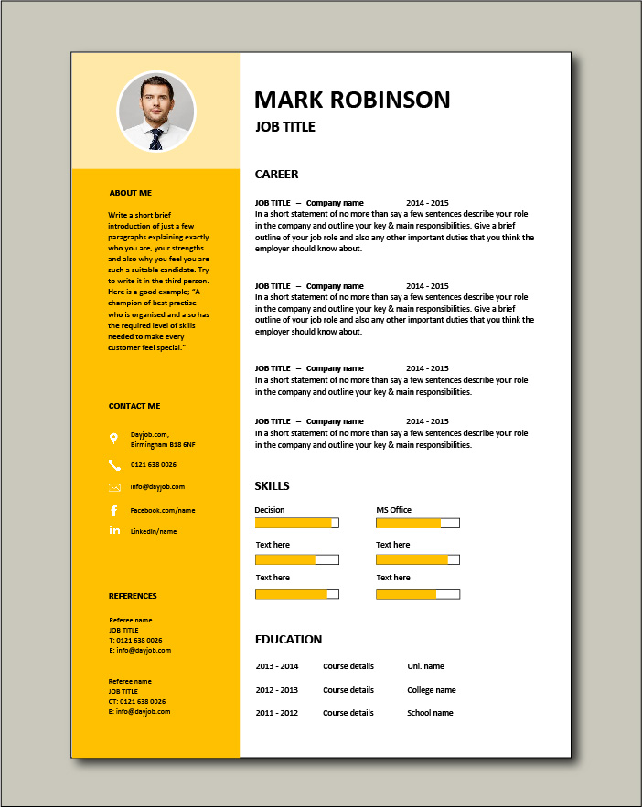 Free CV template 15 - yellow