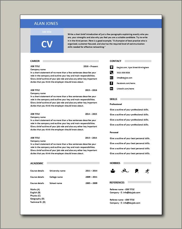 Free CV template 17 - blue