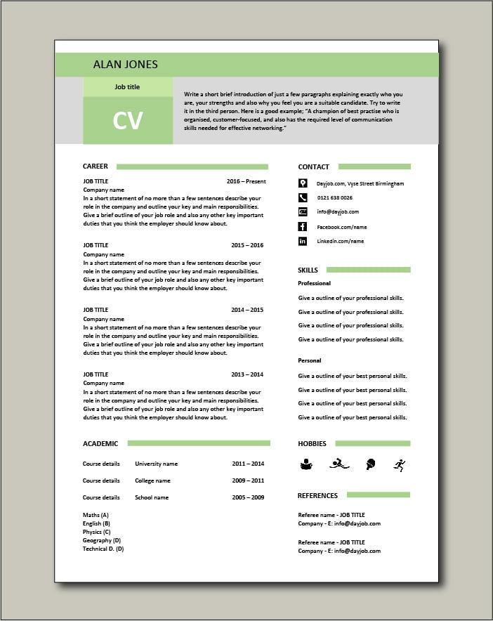 Free CV template 17 - green