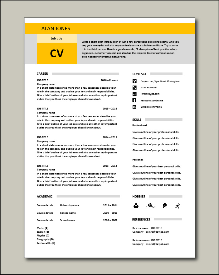 Free CV template 17 - yellow
