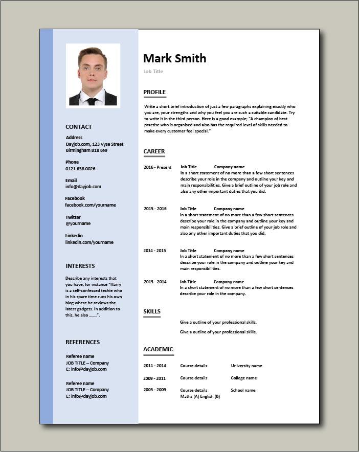 Free CV template 3 - blue