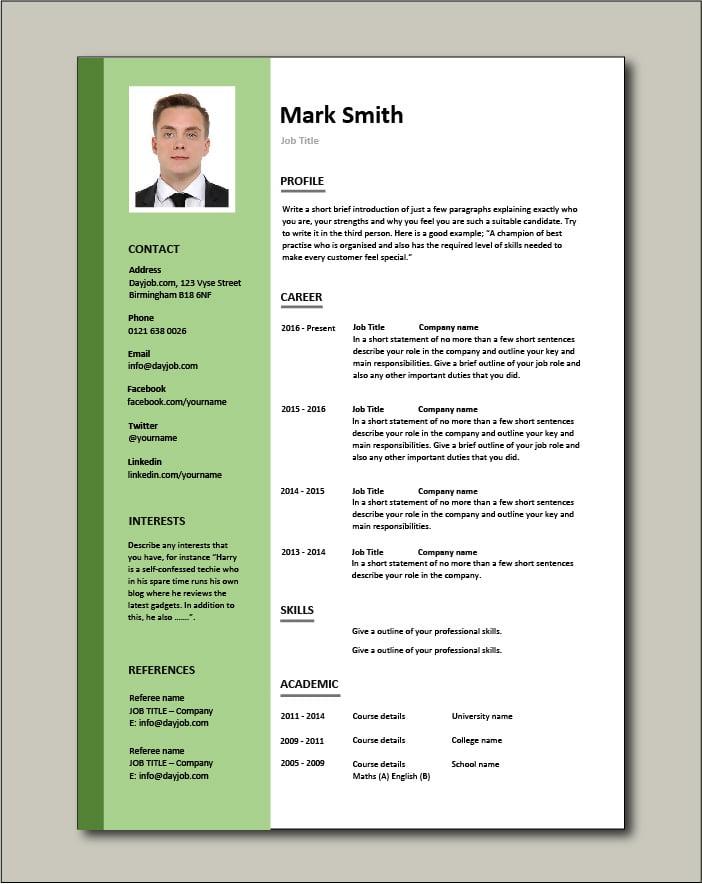 Free CV template 3 - green