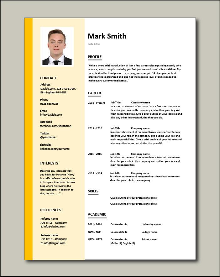 Free CV template 3 - orange