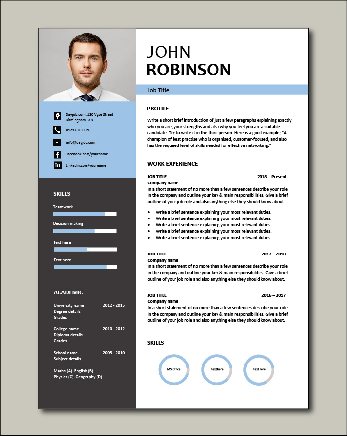Free CV template 49 - blue