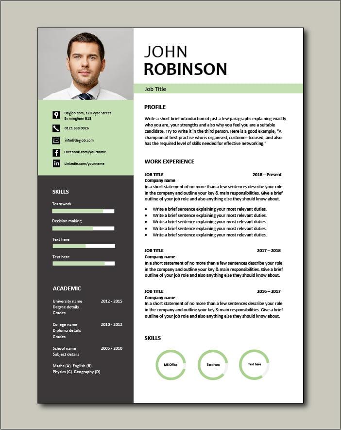 Free CV template 49 - green