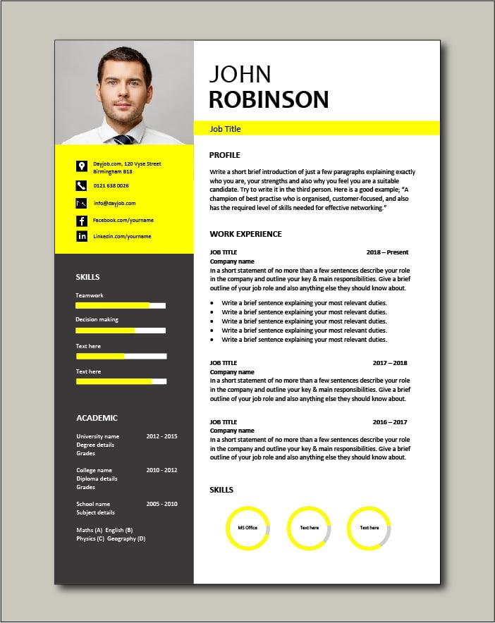 Free CV template 49 - yellow
