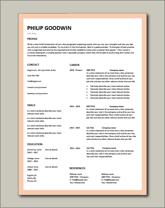 Free CV template 79 - No photo picture