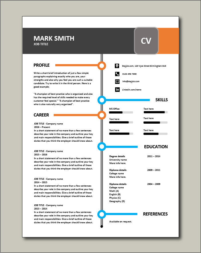 Free CV template 83 No photo picture