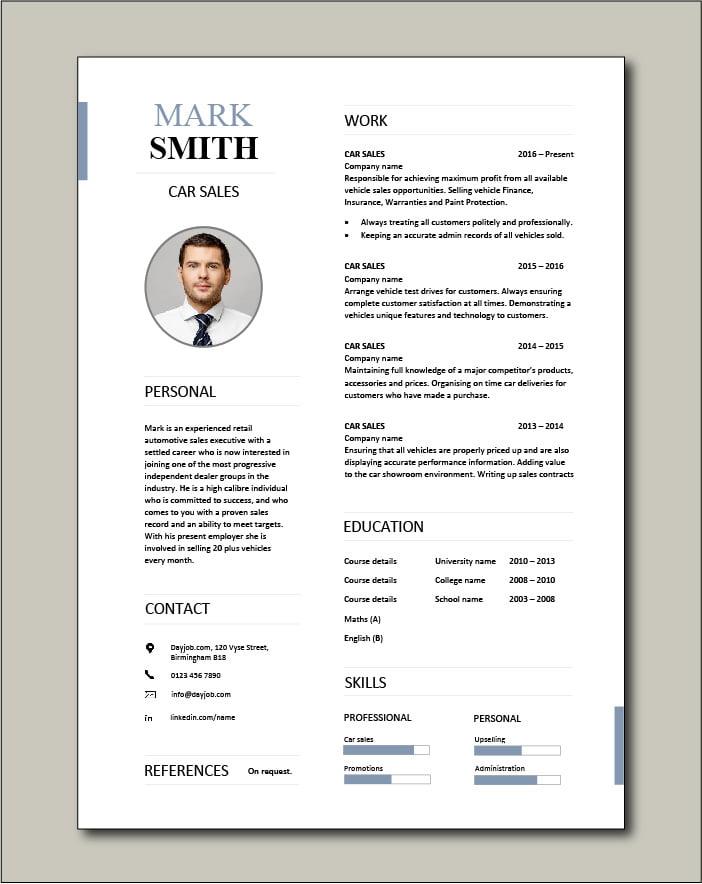Free Car Sales resume template 2