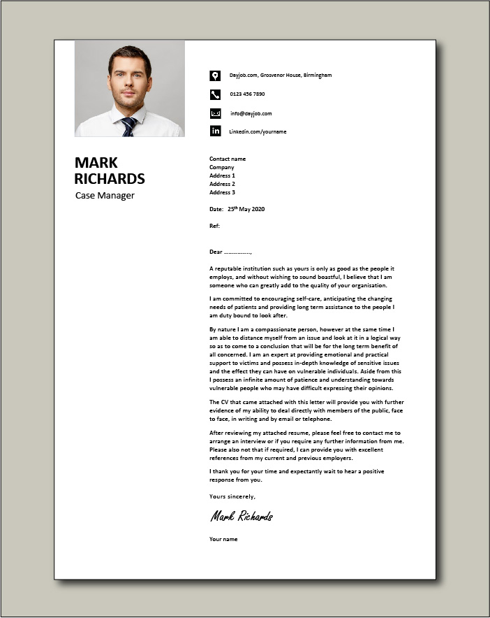 Free Case Manager cover letter example 3