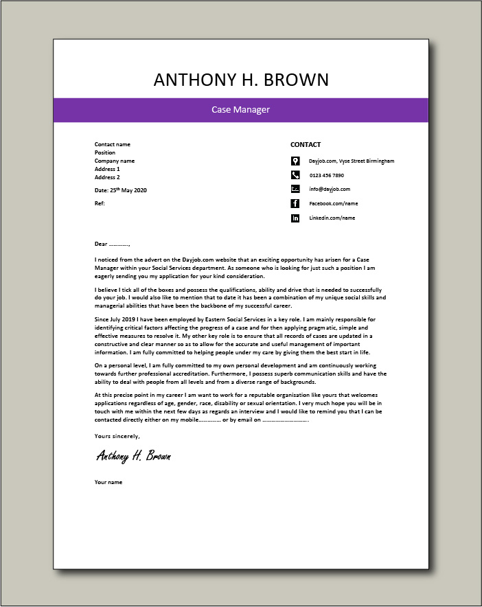 Free Case Manager cover letter example 4
