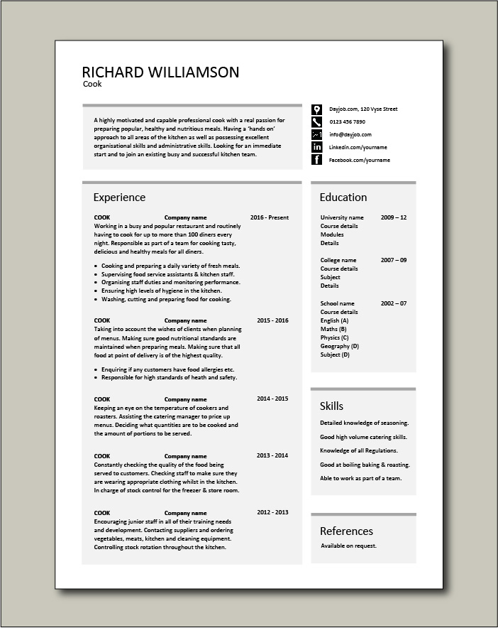 Cook Cv Template Job Description Chef Jobs Cv Example Resume