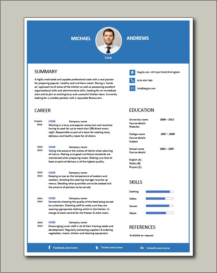 Free Cook CV template 3