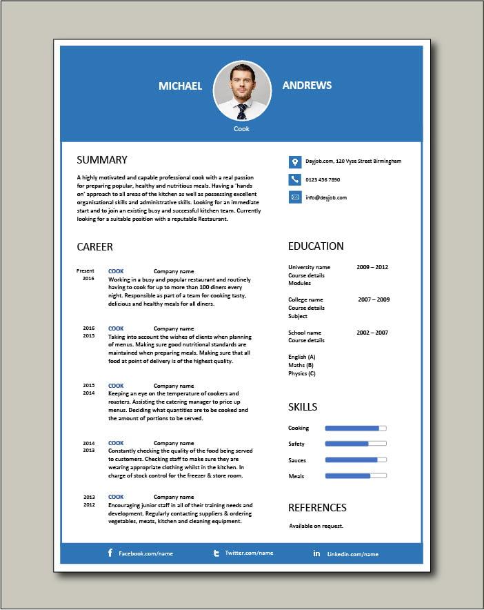 Free Cook CV template 3