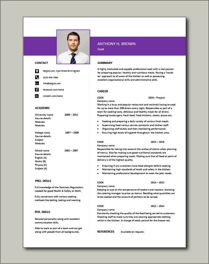 Free Cook CV template 4